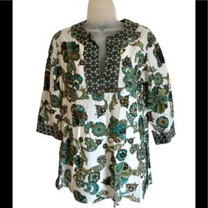 Grace Elements green paisley split neck tunic S